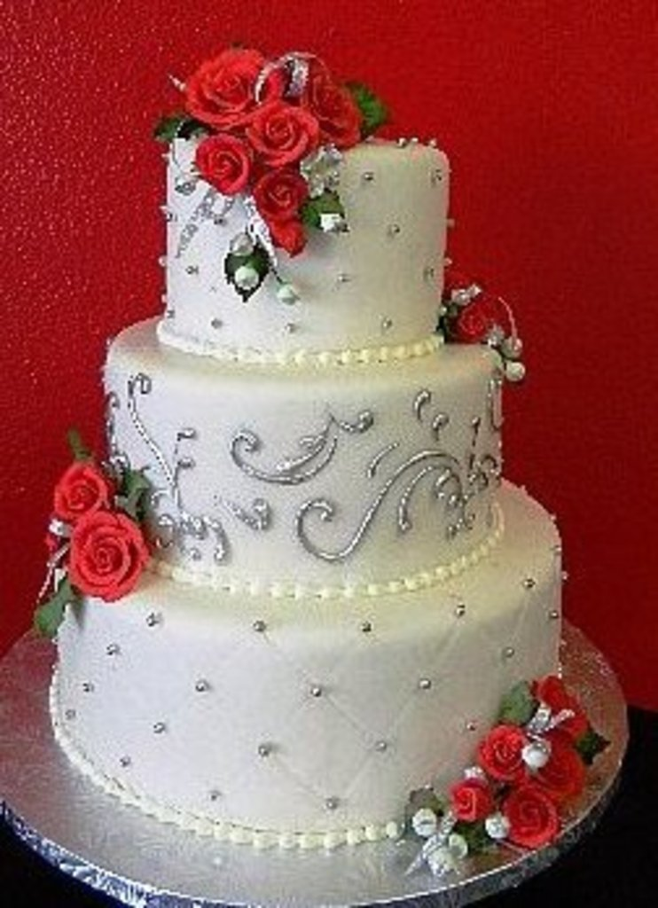 Red And Silver Wedding Cakes - Wedding Cake Flavors