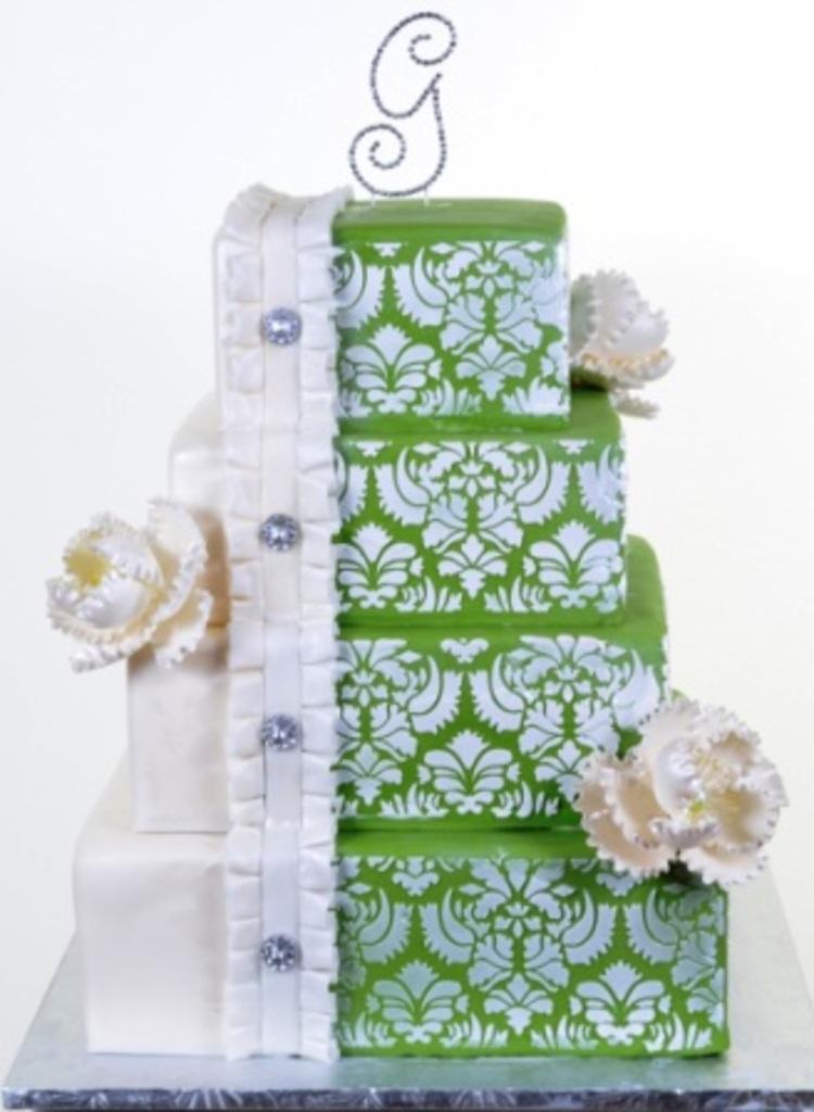 "Split Damask"" Half White Half Green Wedding Cake by Pastry Palace"