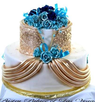 Las vegas wedding cakes las vegas cakes birthday wedding for Turquoise gold wedding theme