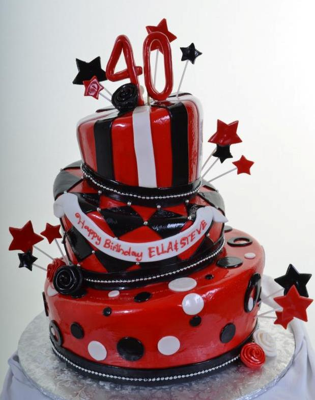 1218 Black White Red Birthday Wedding Cakes Fresh Bakery