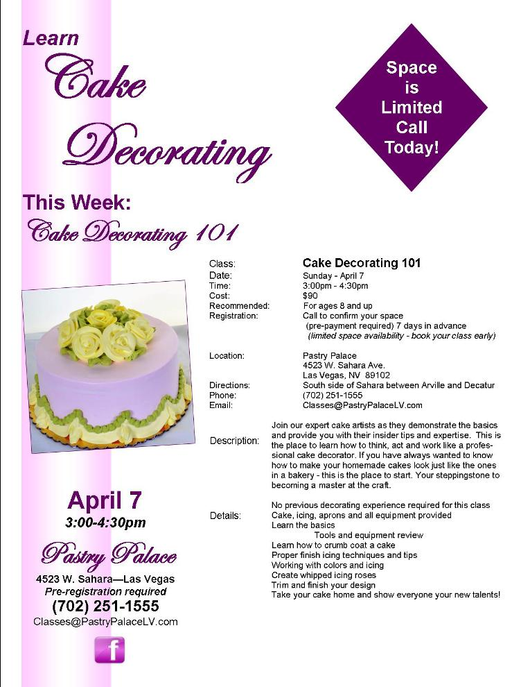 cake decorating lessons vetwillcom - Cake Decorating Class