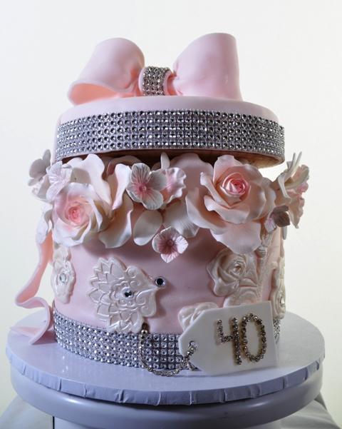 Pastry Palace Las Vegas Wedding Cake 1338-Bursting With Roses & Bling