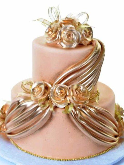 Golden drape wedding cake