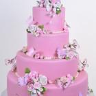 Pastry Palace Las Vegas Wedding Cake 553 - Pink Garden Butterflies