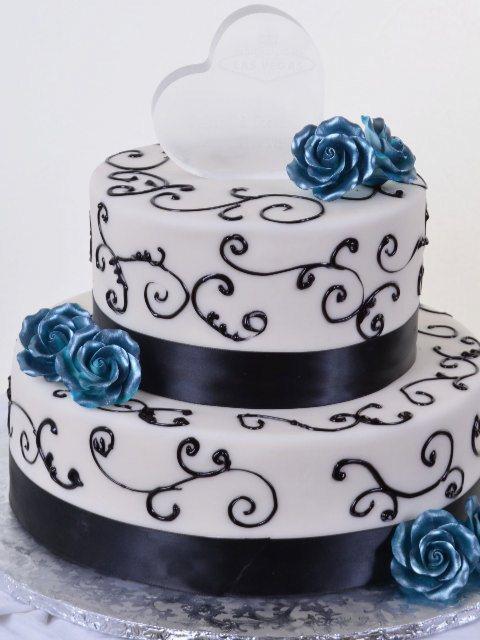 Blue Roses & Chocolate Ribbons wedding cake