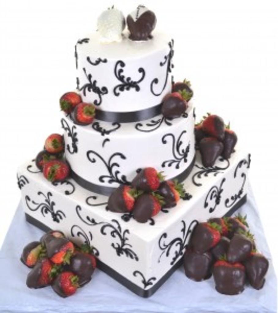 Pastry Palace Wedding Cake #28 - Strawberry Decadence