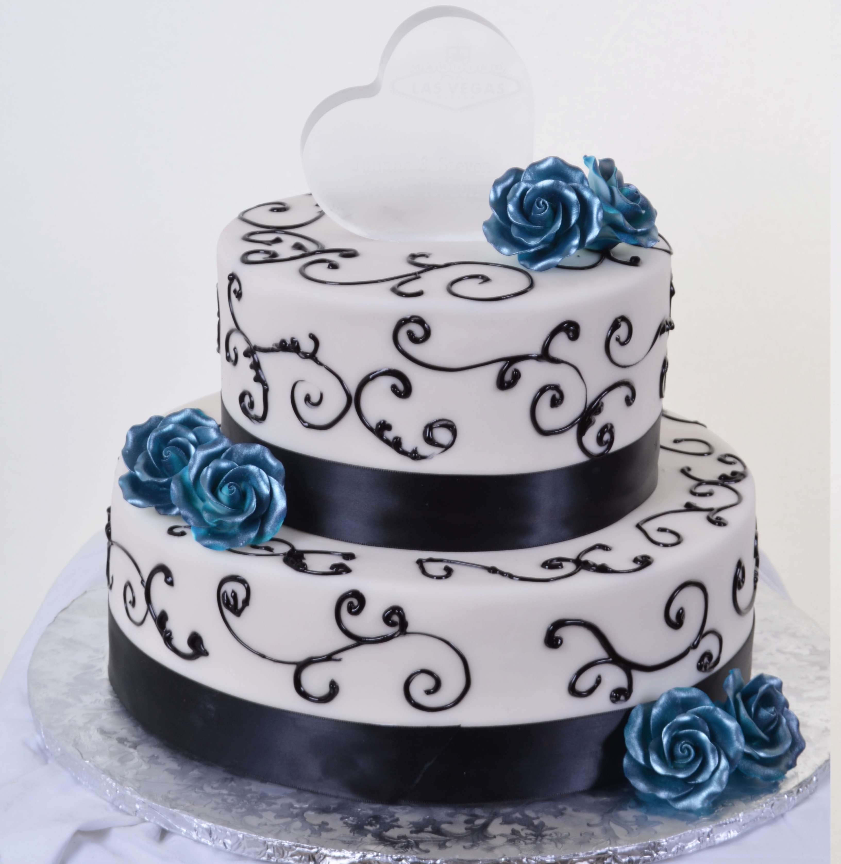 Pastry Palace Las Vegas - Cake 589 - Blue Roses & Chocolate Ribbons