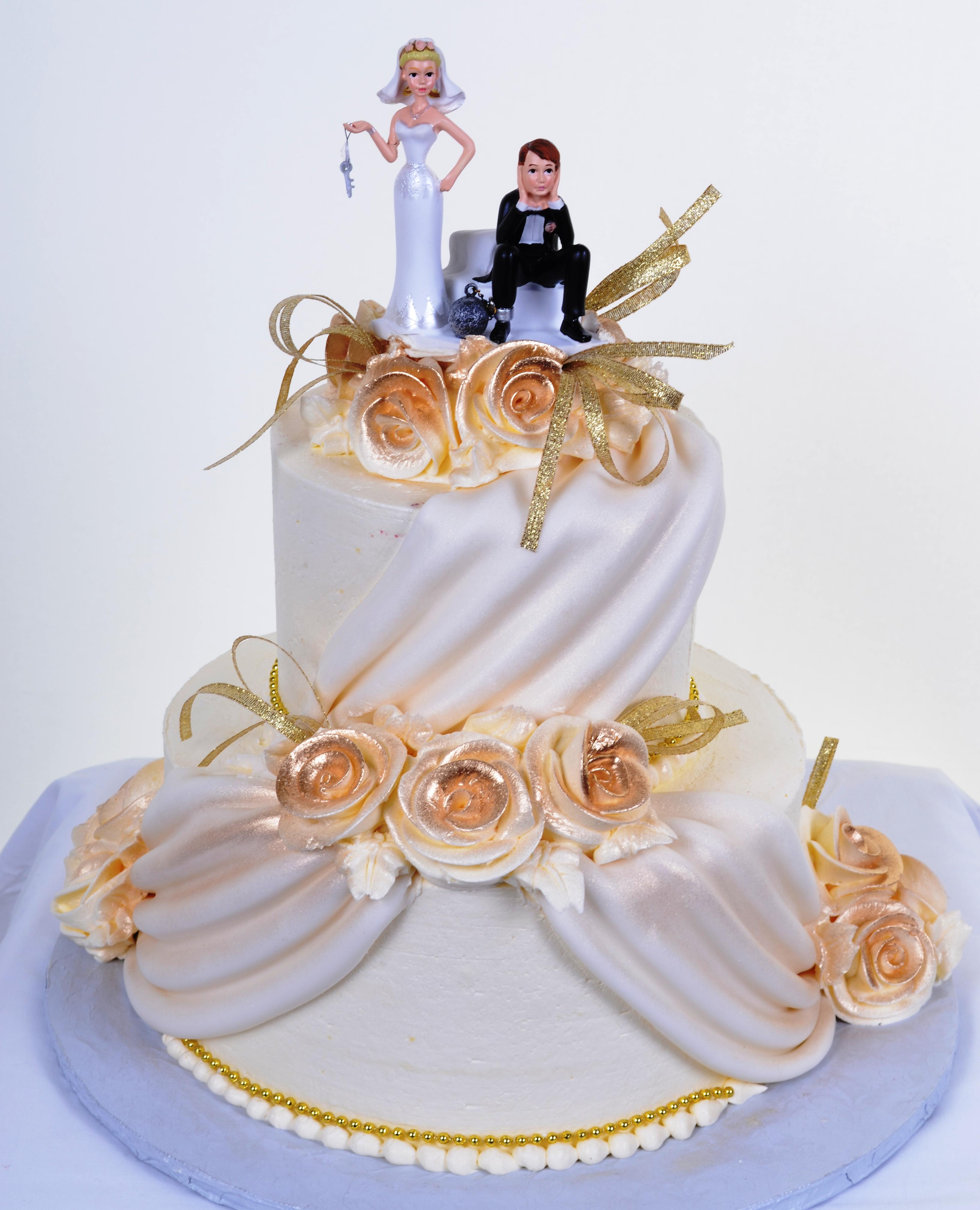 Pastry Palace Las Vegas - Wedding Cake 701 - Drapes & Roses