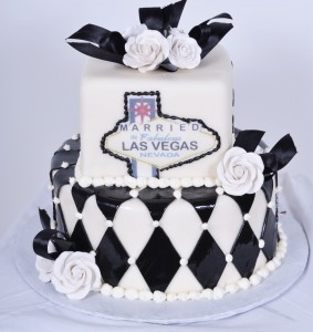 Pastry Palace Las Vegas Wedding Cake 703 - Vegas Black and White