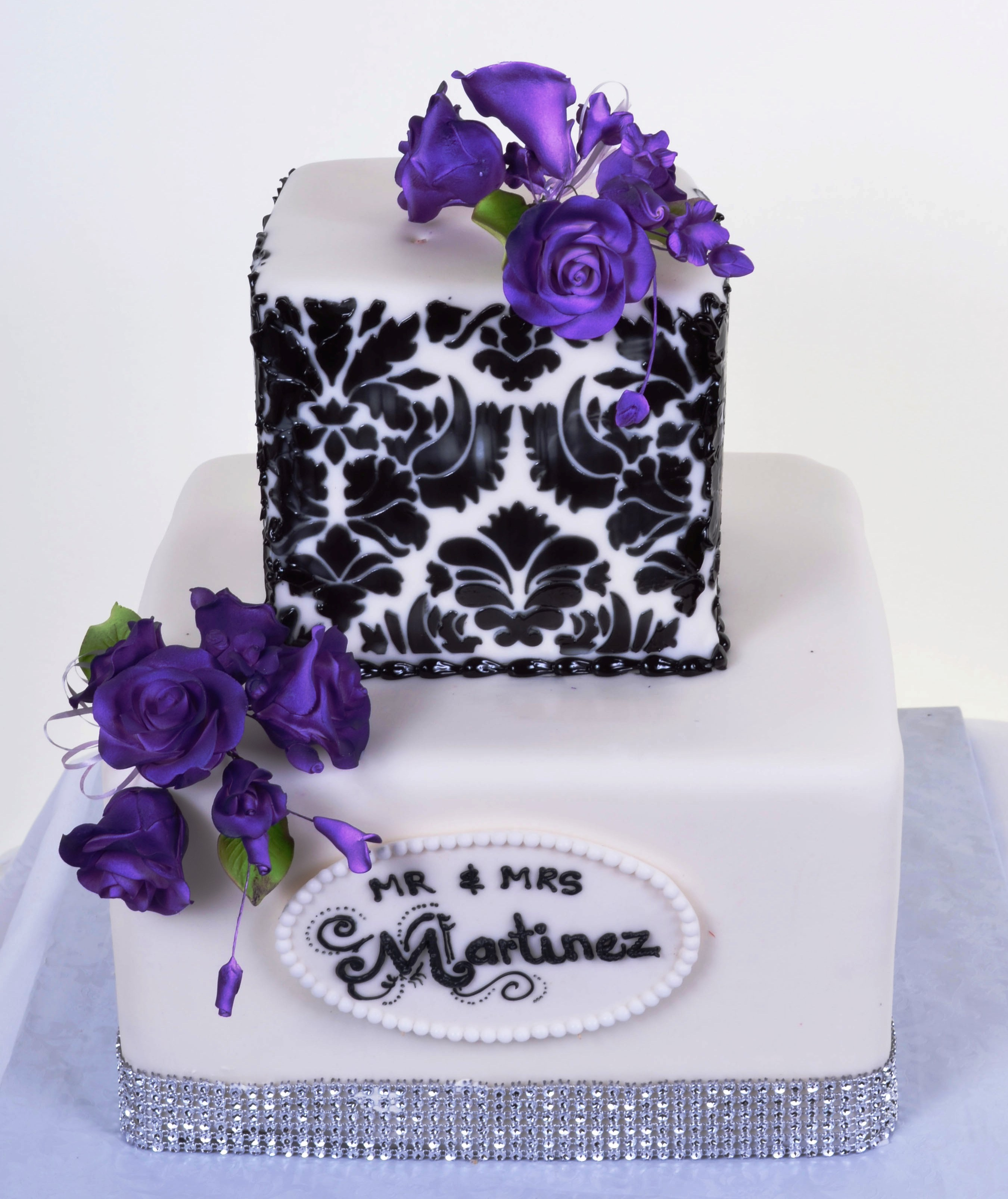Pastry Palace Las Vegas - Black and White Damask with Purple
