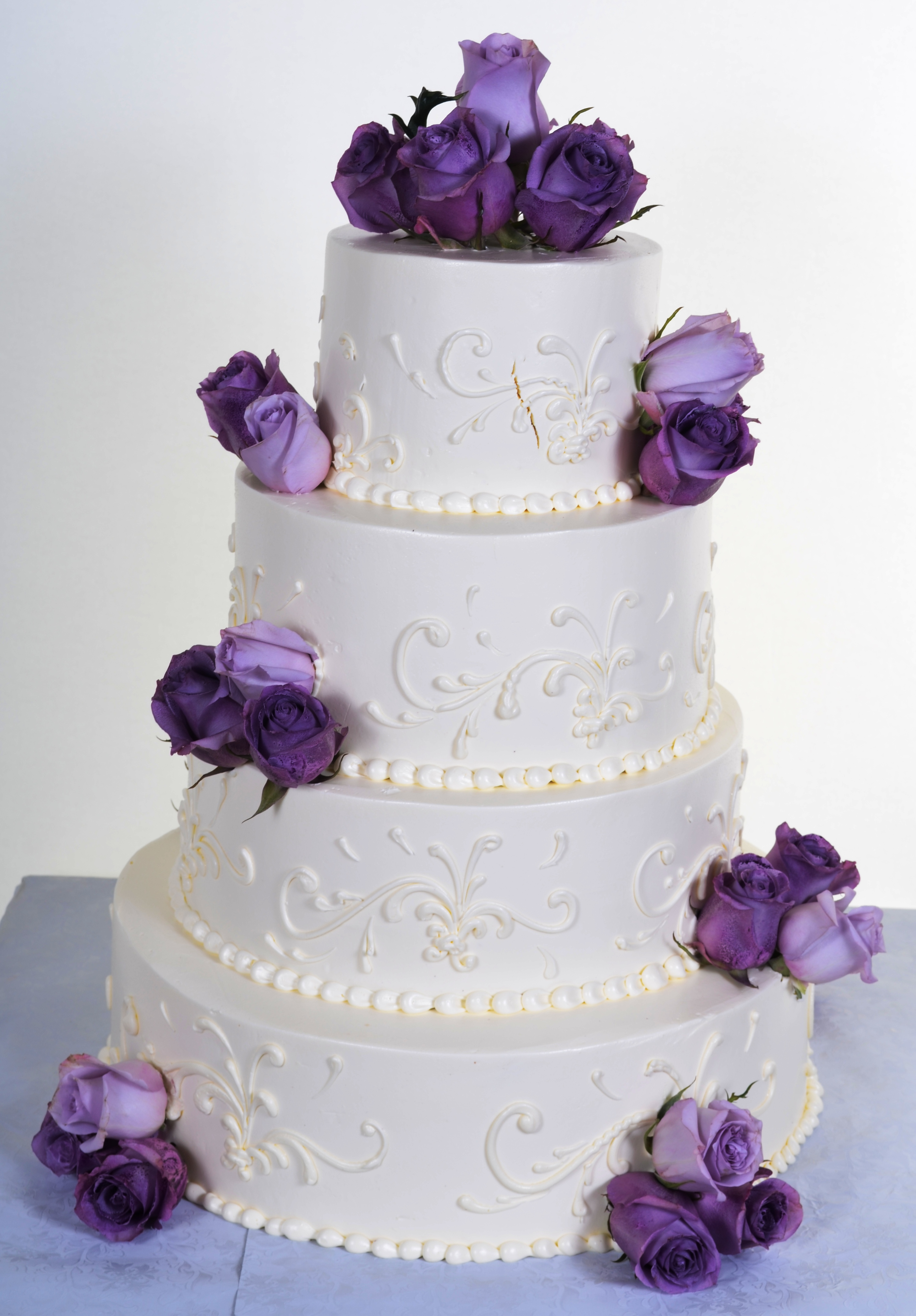 Pastry Palace Las Vegas Wedding Cake 813 - White on White with Color