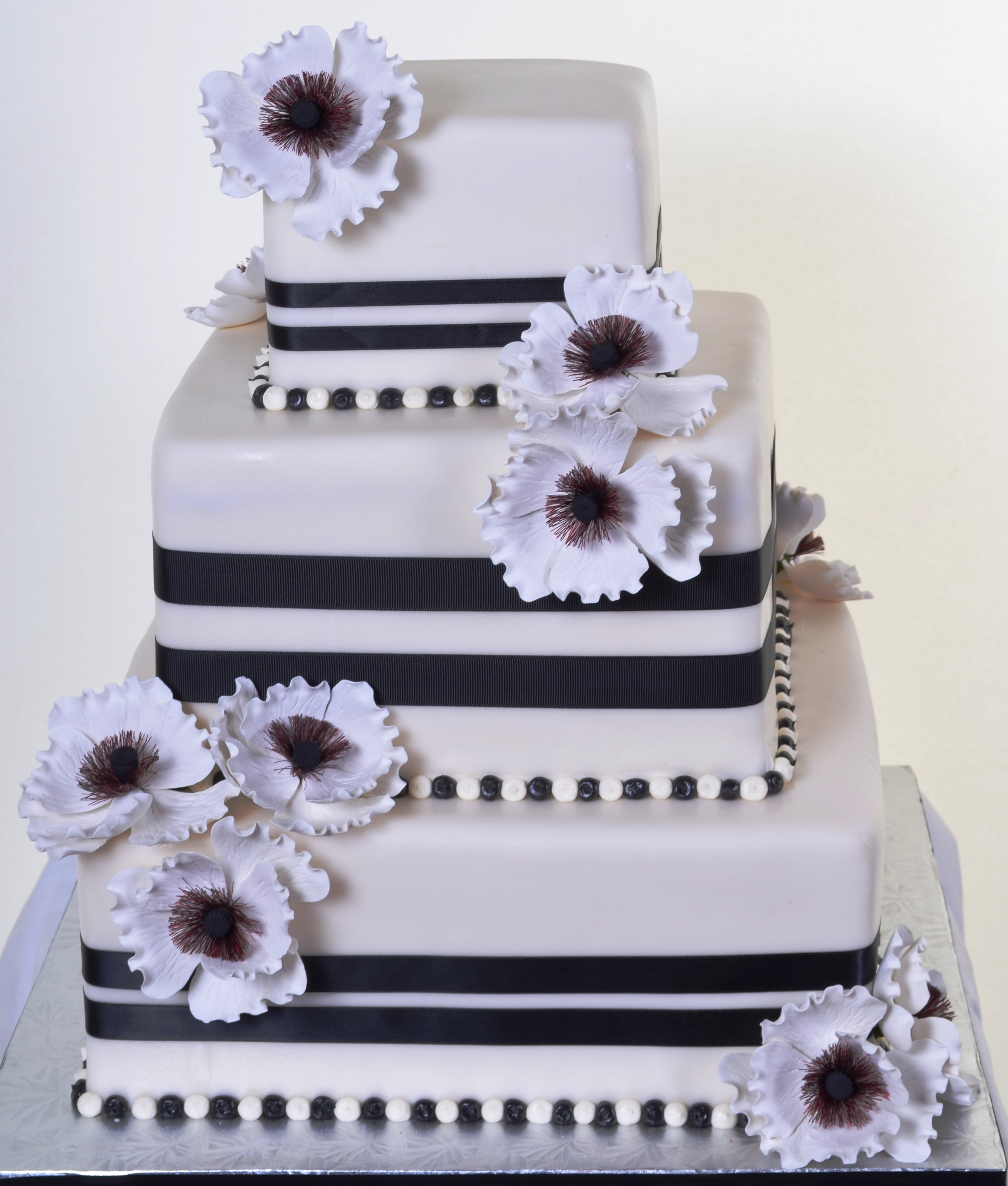 Pastry Palace Wedding Cake 904 - Black and White Squares & Peonies