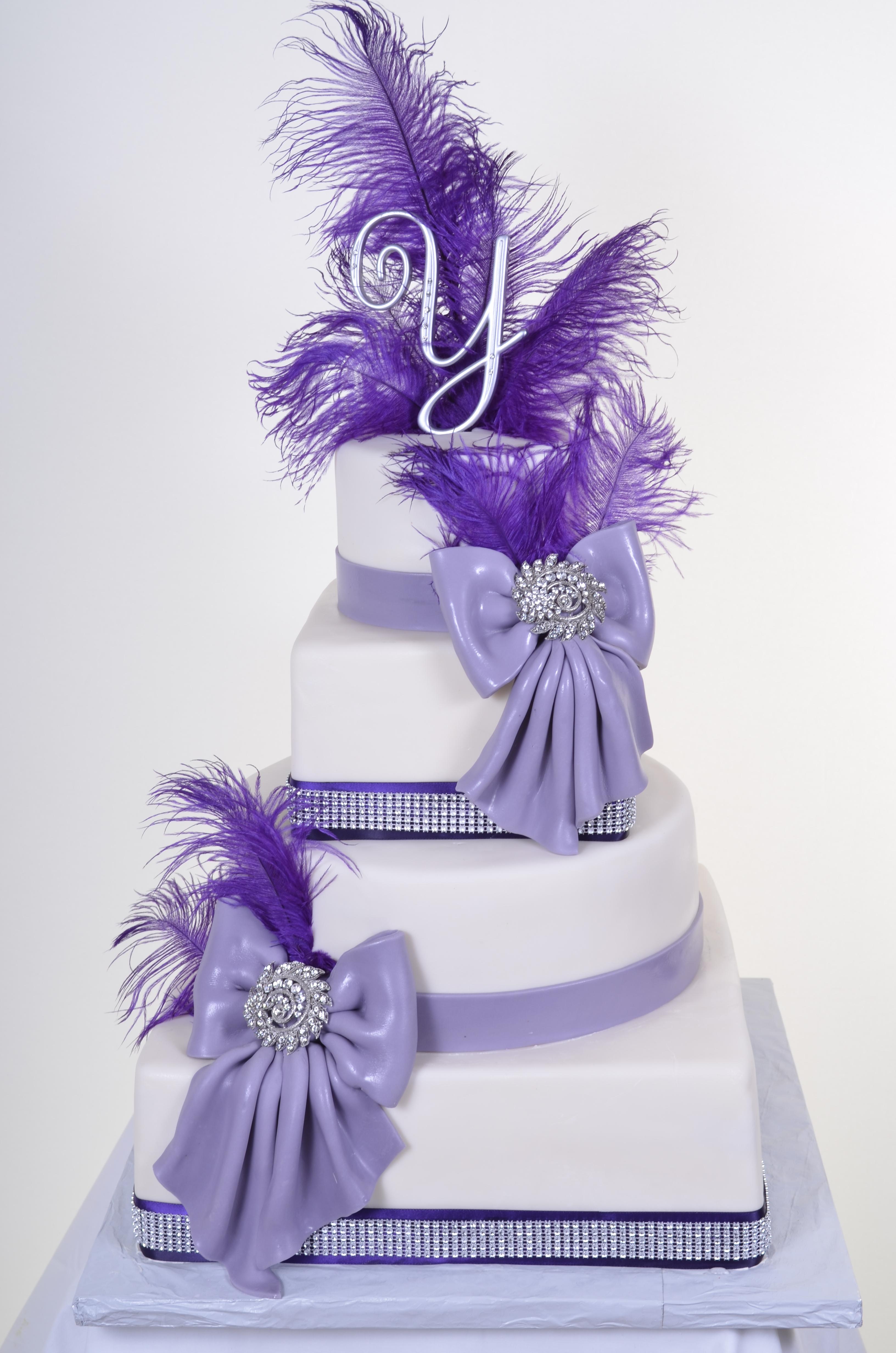 Pastry Palace Las Vegas Wedding Cake 906 - Feathers & Bows
