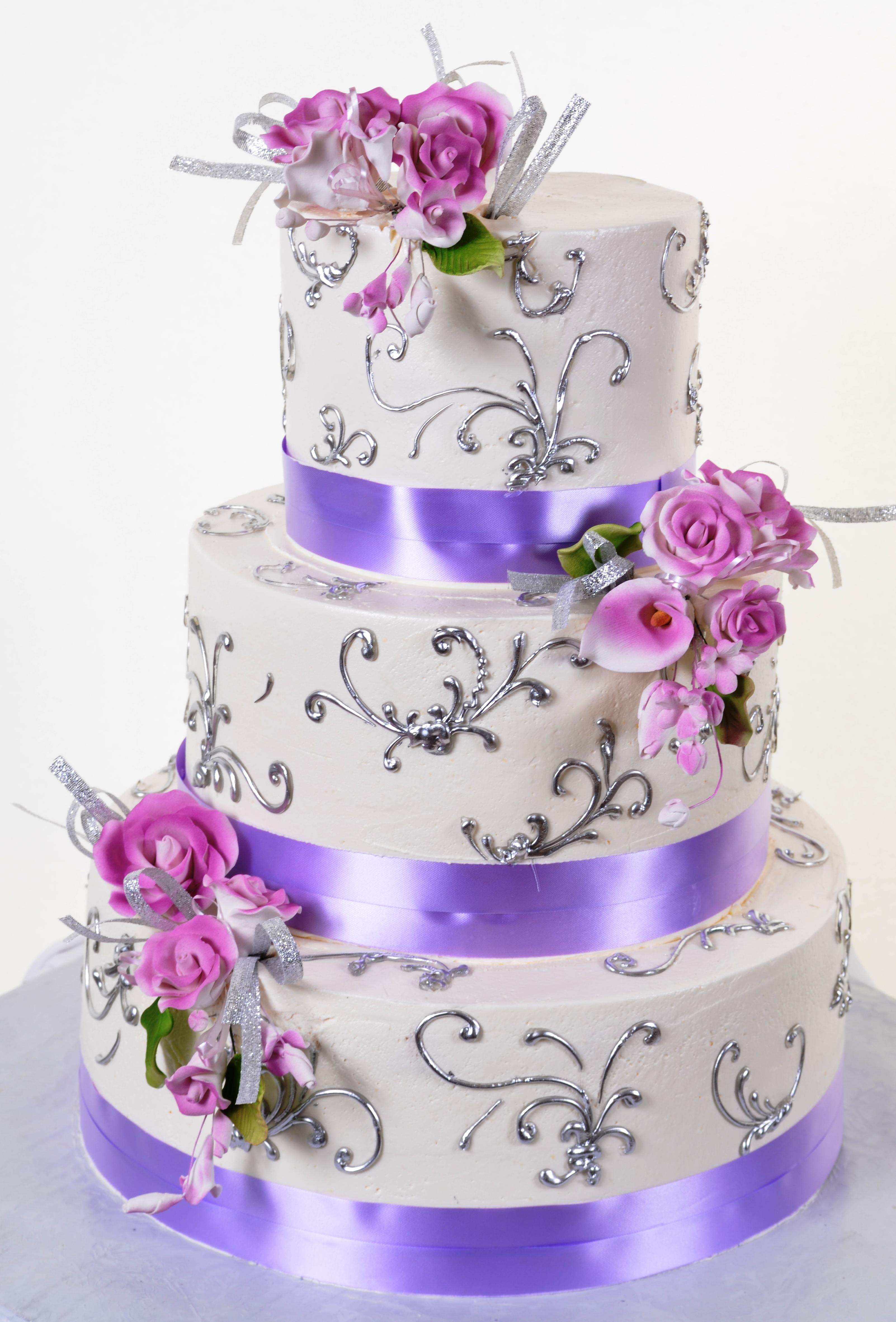 Pastry Palace Las Vegas Wedding Cake 908 - Lavender & Silver Dreams