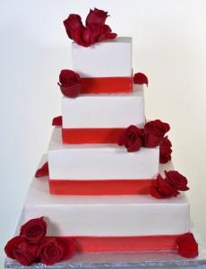 Red Square Wedding Cake #912