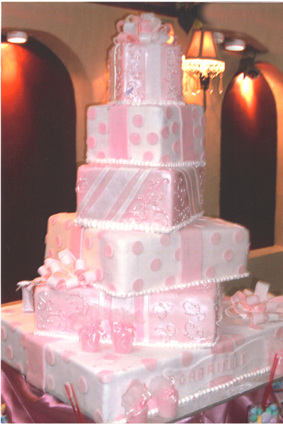 Pastry Palace Las Vegas Wedding Cake 98 - Gifts of Stripes & Dots