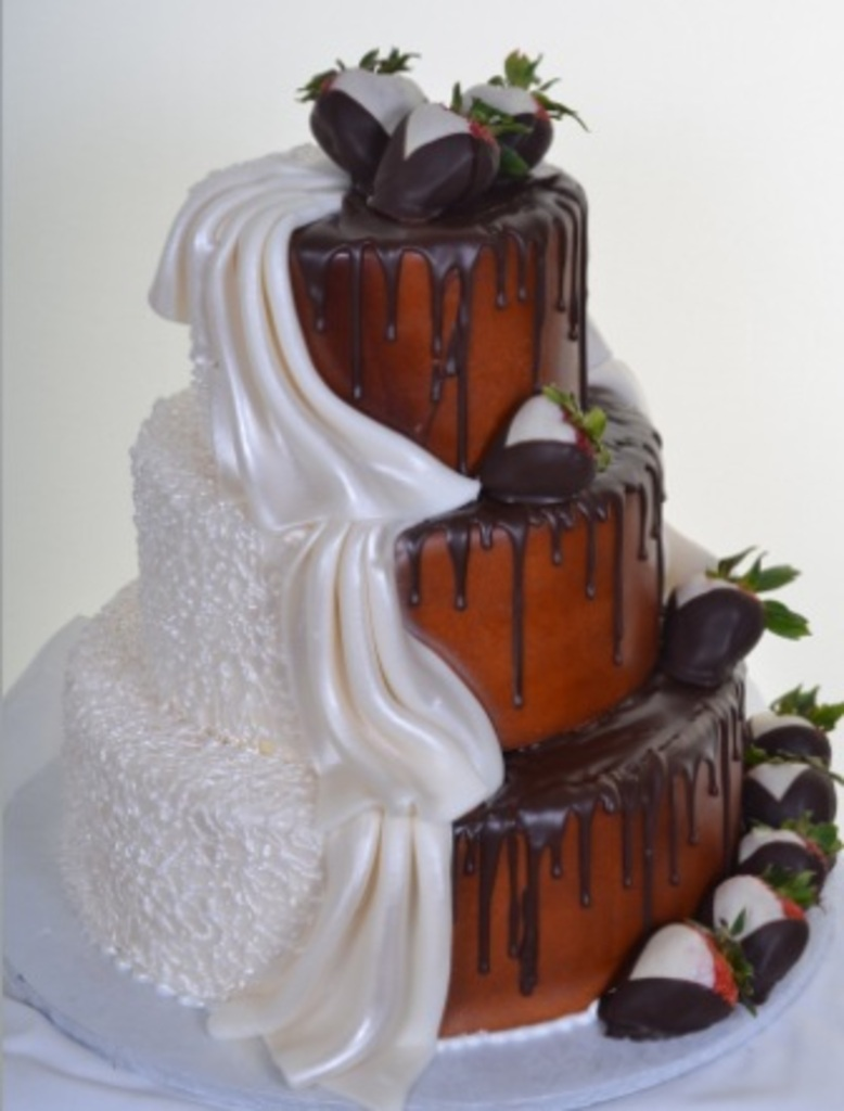 "Split Personality"" Half White Half Chocolate Wedding Cake by Pastry"
