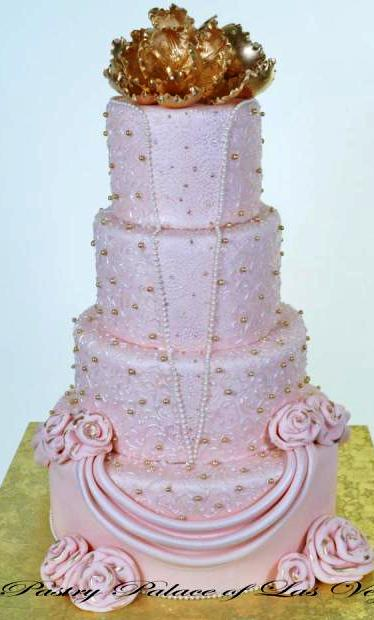 Pastry Palace Las Vegas - Wedding Cake 1023 - The Pink Gown