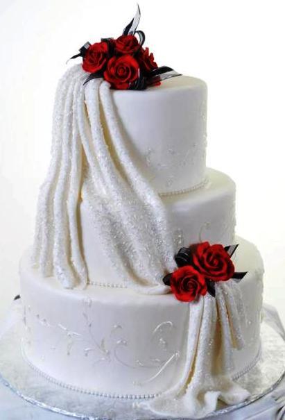 Pastry Palace Las Vegas - Wedding Cake 1041 - Drapes of Lace