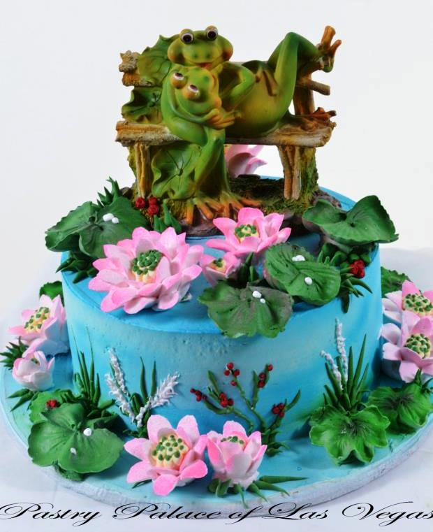 Pastry Palace Las Vegas - Wedding Cake #1062 - Frogs In Love