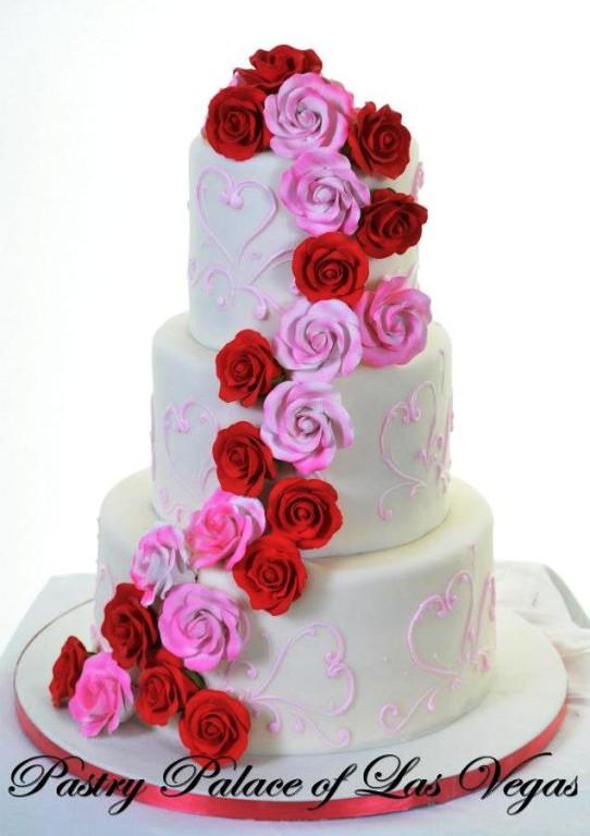 Pastry Palace Las Vegas Wedding Cake 1203 - Pink & Red Rose Cascade