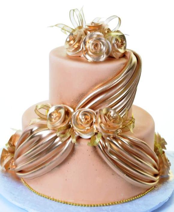 Pastry Palace Las Vegas - Wedding Cake 1221 - Gold Satin Drapes