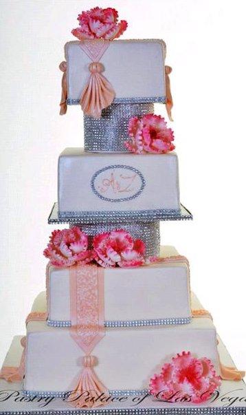 Pastry Palace Las Vegas Wedding Cake 1234 - Balanced Bling