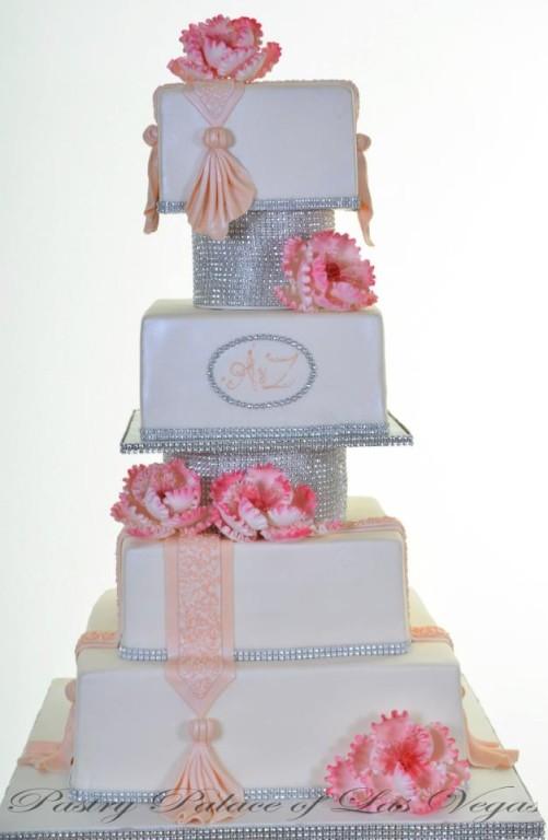 Pastry Palace Las Vegas Wedding Cake with Bling
