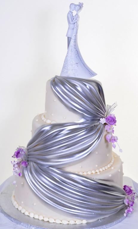 Pastry Palace Las Vegas - Wedding Cake 348 - Silver Drapes & Pearls