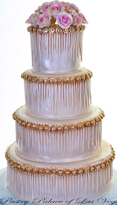 Pastry Palace Wedding Las Vegas Wedding Cake #1233 - Icicles & Gold