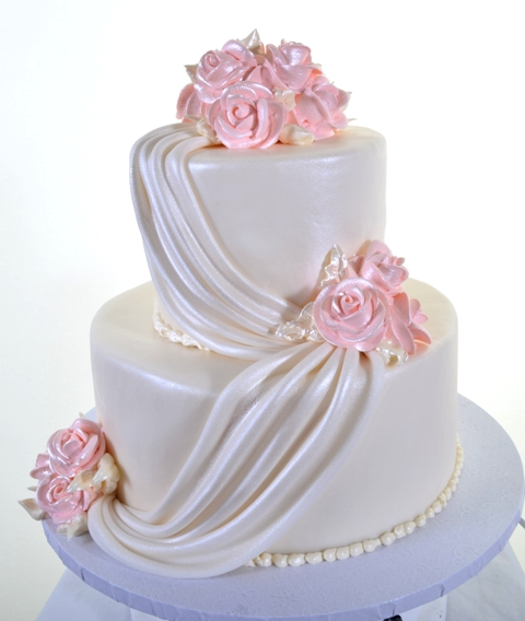 Pastry Palace Las Vegas Cake #1463 - White Satin with Roses