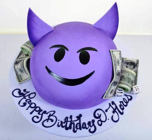 1953 Purple Devil Emoji Wedding Cakes Fresh Bakery Pastry