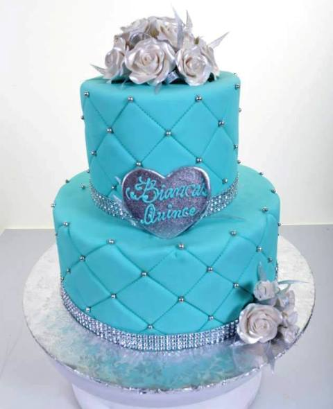 #1965 – Quinceañera in Aqua and Silver